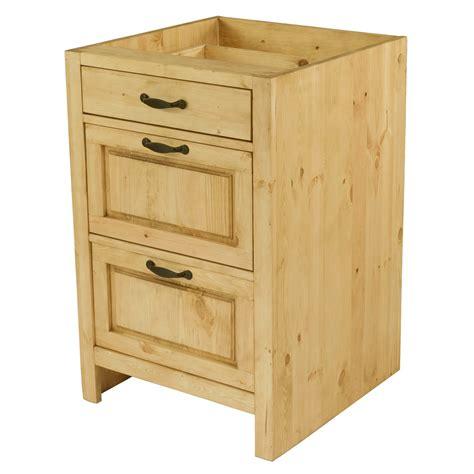 meuble bas de cuisine en pin massif 60 cm 3 tiroirs