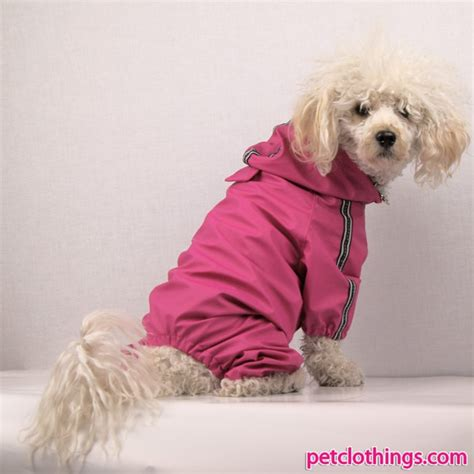 small raincoat four legged raincoat for small dogs e g poodle in magenta