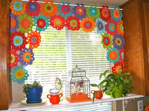 free crochet patterns for curtains cheerful flower power valance crochet pattern allcrafts