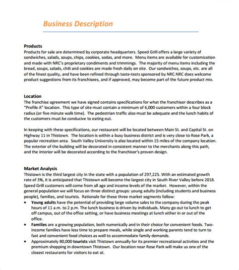 business plan franchise template restaurant business plan template 7 free