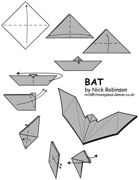 Easy Bat Origami - origami guide