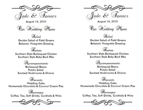 Wedding Menu Template 2 Wedding Menu Templates Wedding Menu Size Template