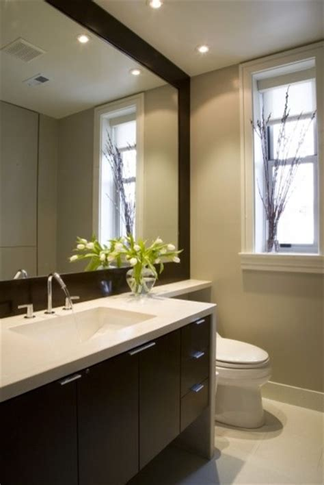 Framing Bathroom Mirror Ideas by Recessed Lights Above Vanity