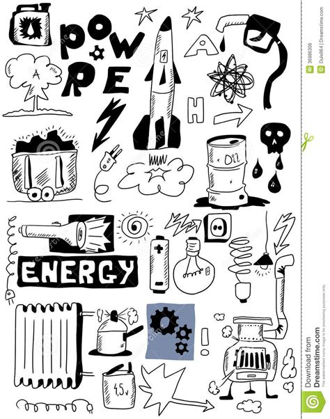 how to create energy in doodle draw energy doodle set royalty free stock image