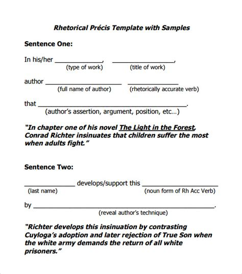 how to write a rhetorical precis template rhetorical precis template 10 documents in pdf