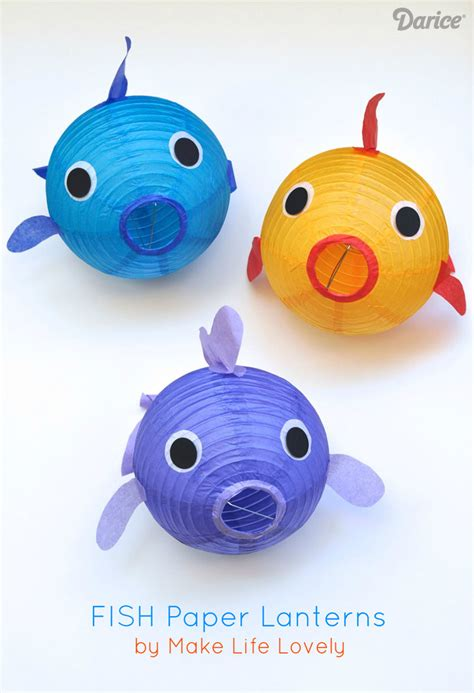 Paper Lantern Fish fish craft decor make your own paper lantern fish
