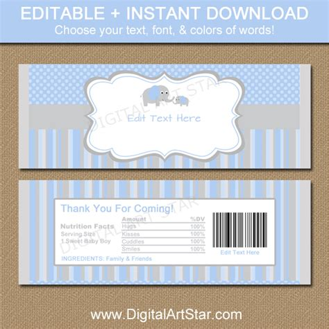 digital art star printable party decor elephant baby