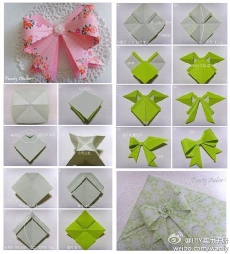 Origami Ribbon - paper craft a bow tie cards crafts