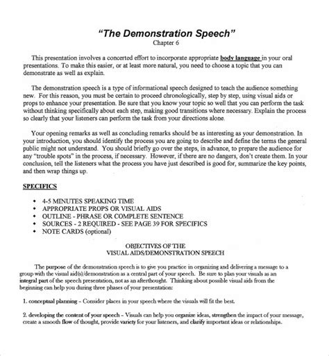 demonstration speech outline template sle demonstration speech exle template 8 free