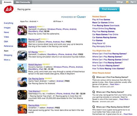 Askcom Relaunch Their Search Engine And Its by Ask Adds Mobile Apps To Its Search Results