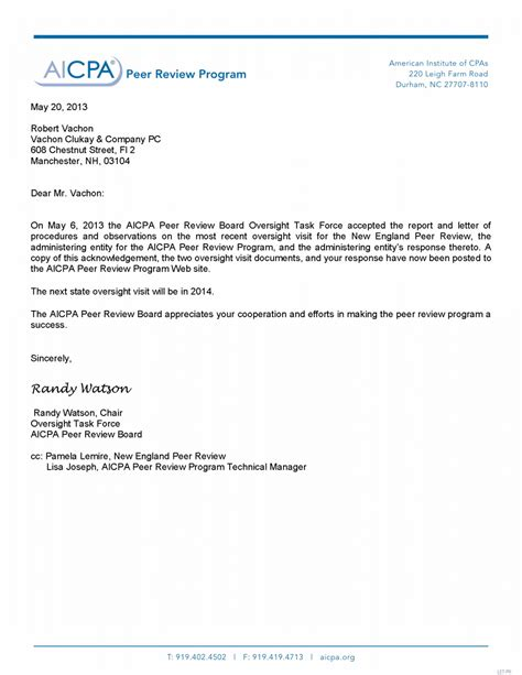 Response Letter To Site Visit Nepr Aicpa Oversight New Peer Review