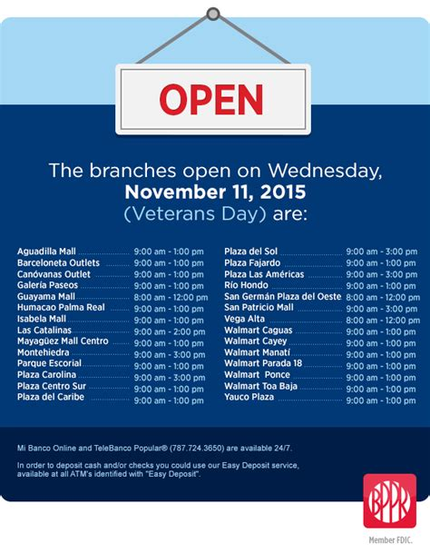 banco popular hours special hours veterans day 2015 popular