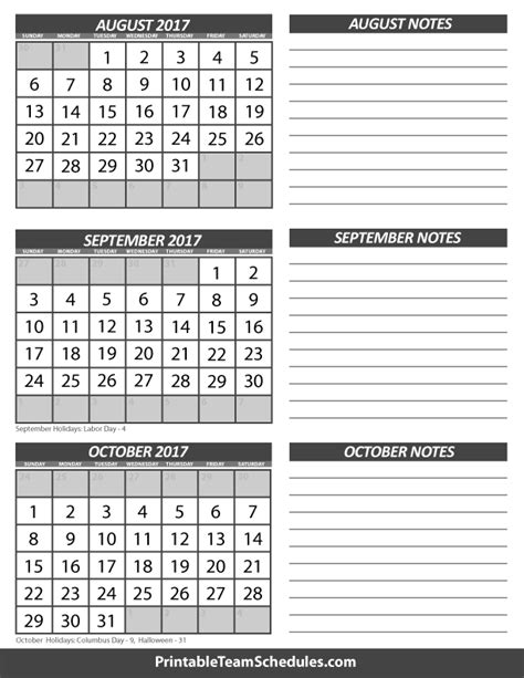 printable calendar september 2017 to august 2018 august september october calendar 2017