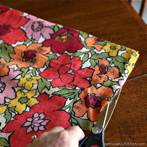 cutting fabric for curtains vintage barkcloth curtains one becomes two petticoat
