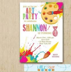 art birthday party invitations art party invitations