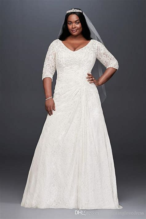 discount draped lace a line plus size wedding dress with v
