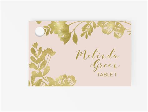 gold and pink flower cards template place cards editable ms word template diy floral