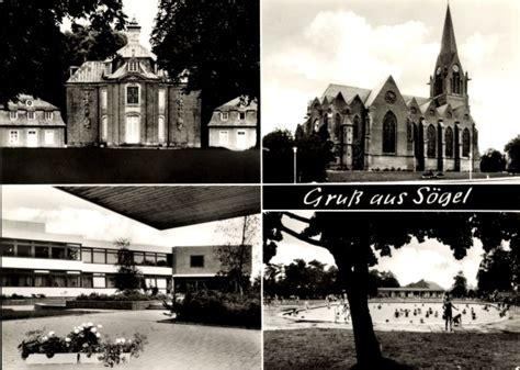 schwimmbad lengerich ansichtskarte postkarte s 246 gel emsland kirche freibad