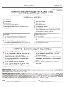 Pre Exercise Screening Form Template by Fitness Assessment Screening Questionnaire Driverlayer
