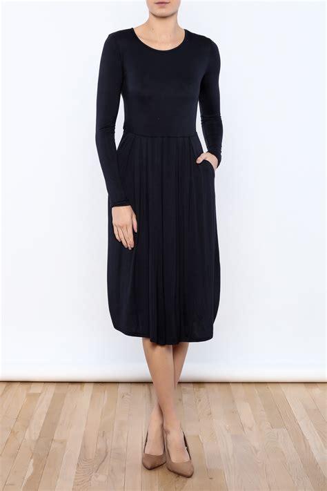 Lea Navy Midi Dress Casual Hi Low Dress reborn j casual navy dress from atlanta by grayestyle shoptiques