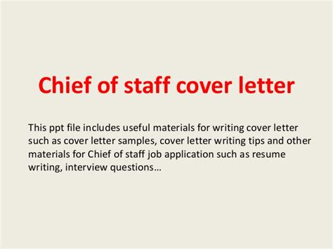 chief of cover letter chief of staff cover letter