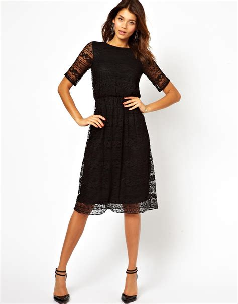 Dress Midi Vb Back lyst asos midi dress in lace with wrap back in black