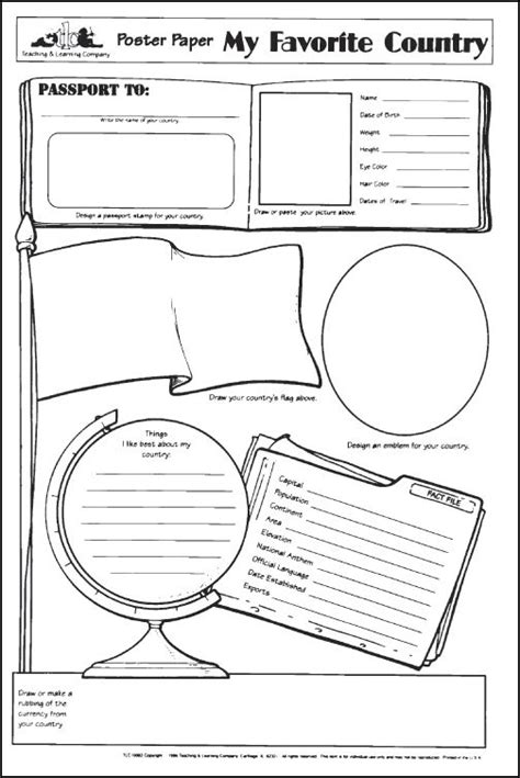 country report template 2nd grade my favorite country poster paper 020483 details