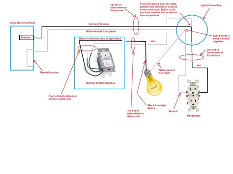 how to wire a light fixture and switch diagram within