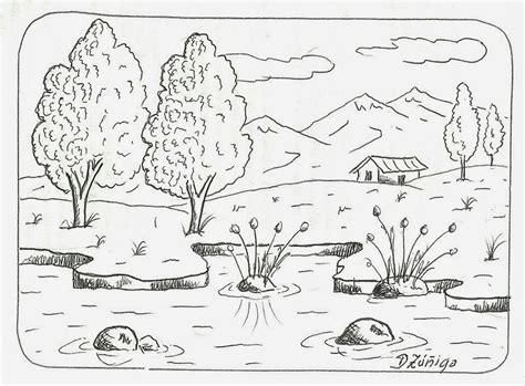 imagenes faciles para dibujar paisajes dibujo de paisaje con flores para imprimir y pintar