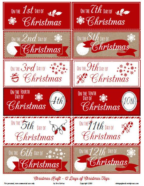12 days of christmas gift tags free printable 12 days of gift tags vintage glam studio