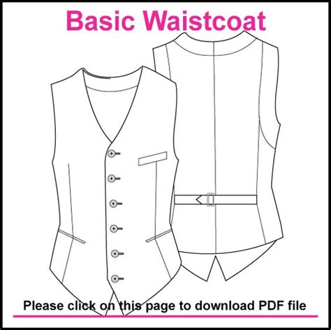 free printable vest pattern basic single breasted waistcoat pattern created in