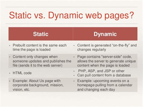 templates for static web pages difference between dynamic and static website static vs