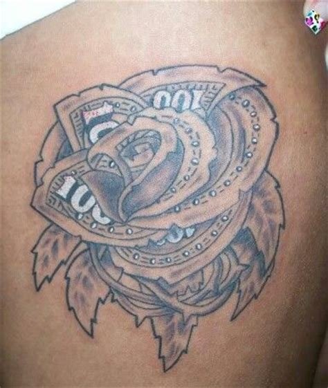 100 bill rose tattoo 100 dollar bill ideas