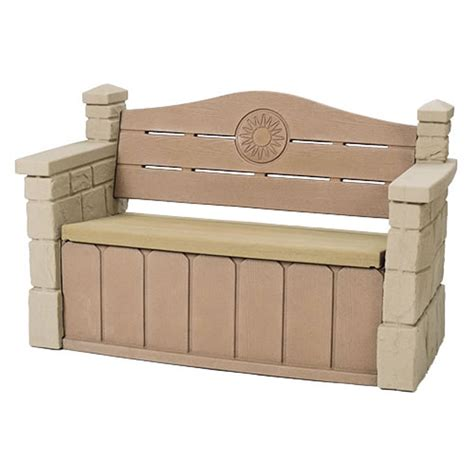 outside storage benches step2 outdoor storage bench garden deck box patio seat