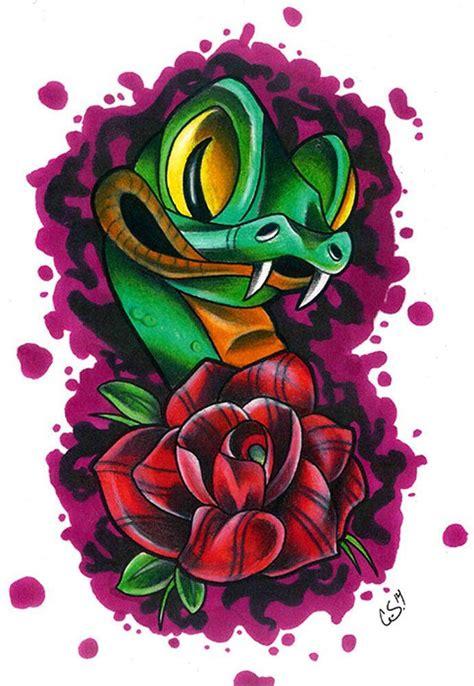 tattoo flash printer new school snake by corey smola rose tattoo flash canvas