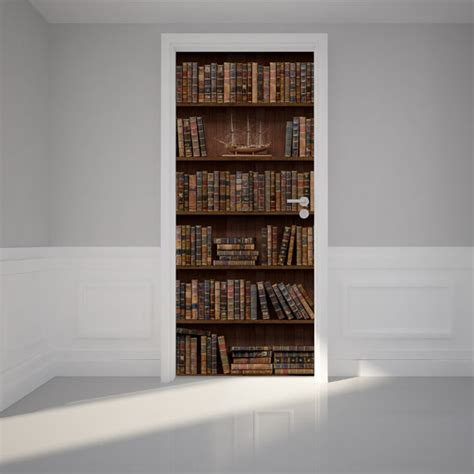 how to stick something to a wall without damage door wall sticker wooden bookshelf with antique books peel