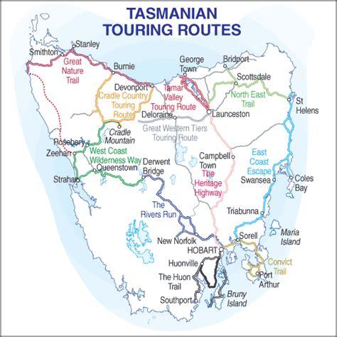 australia touring map touring routes of tasmania