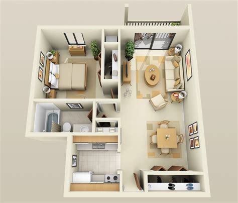 Open Office Floor Plan Layout by 1 Bedroom Apartment House Plans