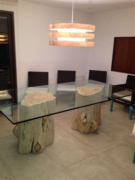 mesa de comedor  troncos de cipres  cristal de