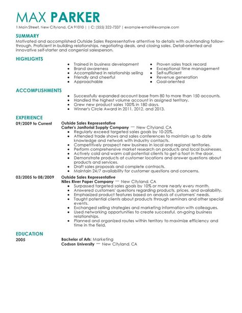 Outside Sales Representative Sle Resume by Best Outside Sales Representative Resume Exle Livecareer