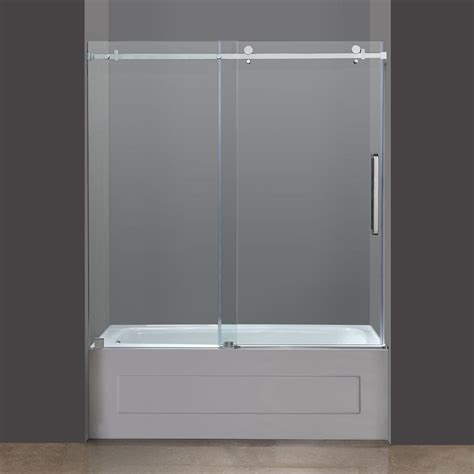 frameless shower doors for bathtubs aston tdr976 frameless tub height sliding shower door