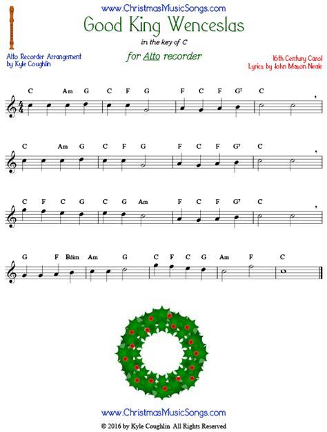 printable lyrics good king wenceslas good king wenceslas for recorder free sheet music