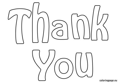 free template coloring thank you cards thank you coloring page