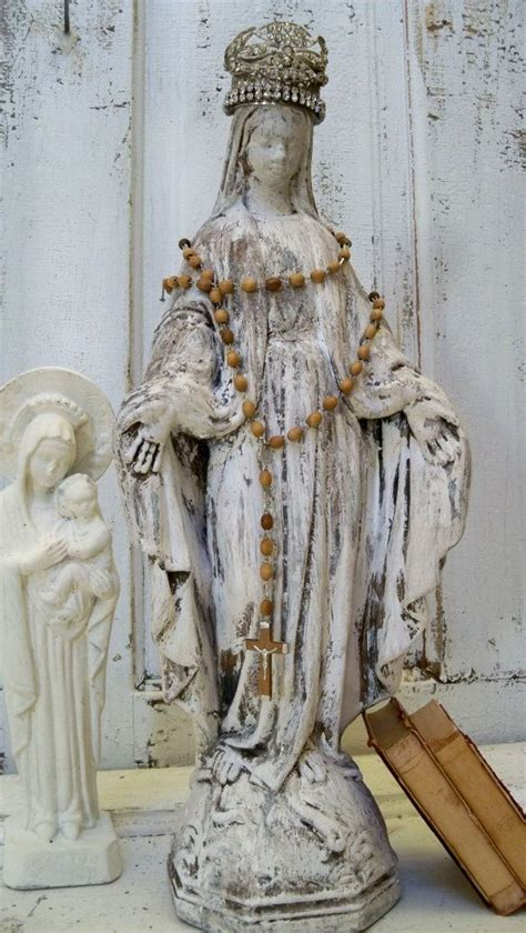 statues and sculptures home decorating virgin mary cement statue with hand made crown shabby chic