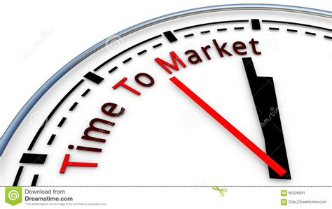 Time To time to market clock concept stock illustration image