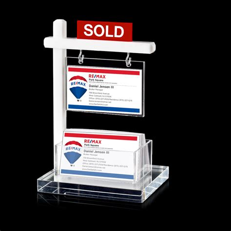 white house realty mini real estate sign business card holder white