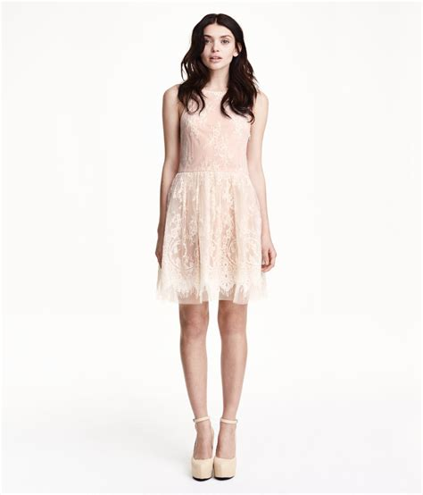 Hm Dress h m sleeveless lace dress in pink lyst