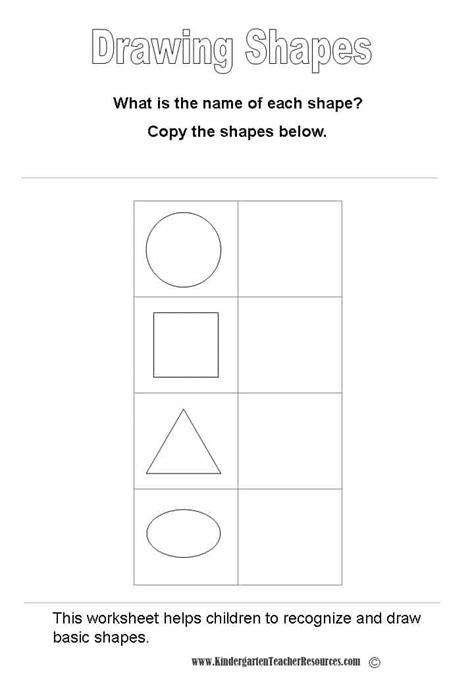 kindergarten activities drawing basic shapes worksheets