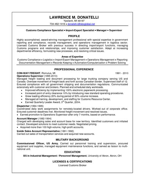 freight broker sle resume automotive collision repair