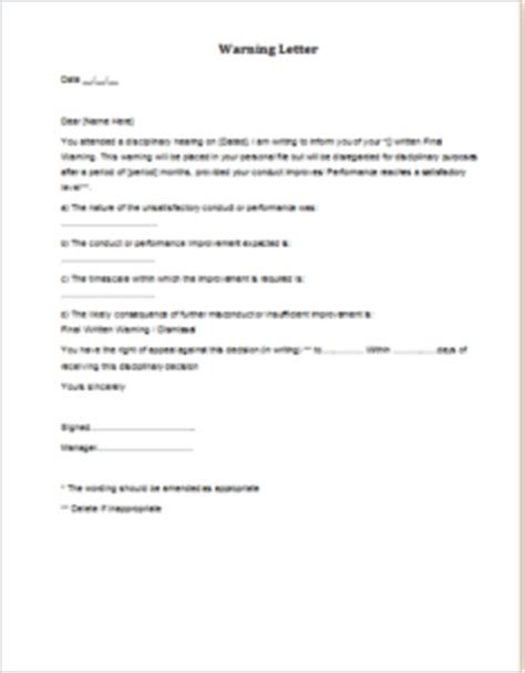 8 warning letter templates for all situations templateinn